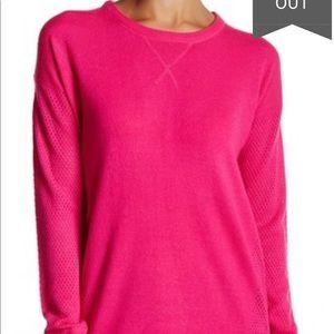 NWOT Sweet Romeo neon pink open stitch sweater